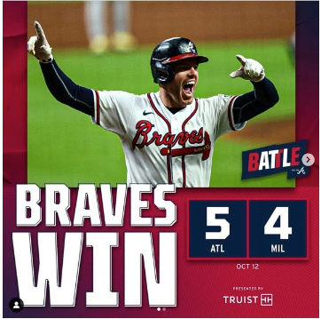 Freddie Freeman Celebration after hitting a homerun and securing the Braves win.